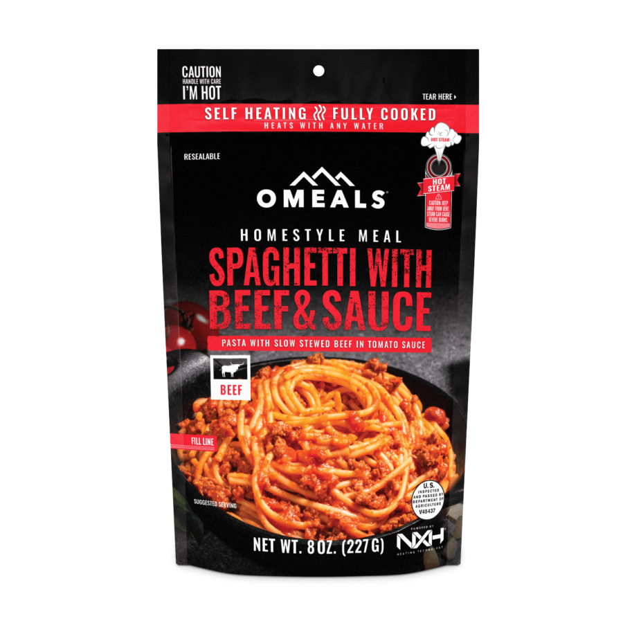 Trail Industries | Omeals Self Heating Meals | Spaghetti with Beef and Sauce